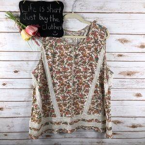 Lucky Brand white pink floral crochet sleeveless